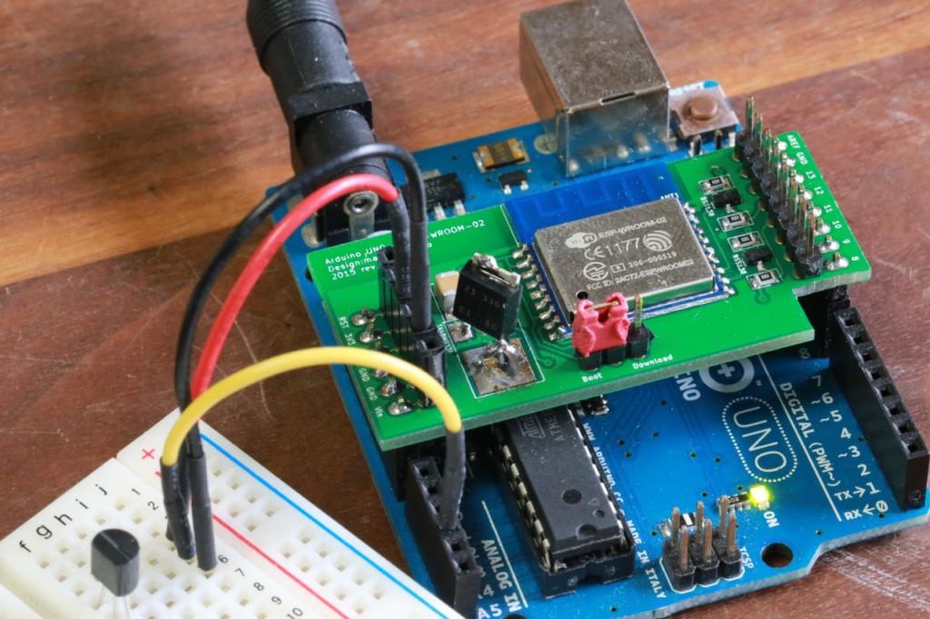 Arduino UNO + ESP-WROOM-02 + 温度センサLM60