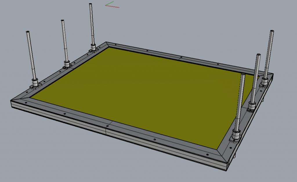 自作レーザーカッターのテーブル。ハニカムコアと上下動の仕組み。