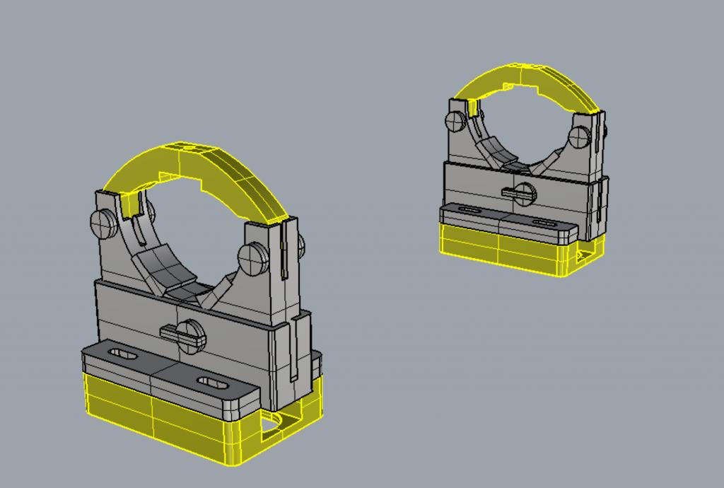 自作レーザーカッター。サイズを合わせるために3Dプリンタで一部の部品を作り直し。